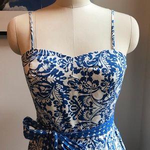 Chinoiserie Blue Tea Length Dress